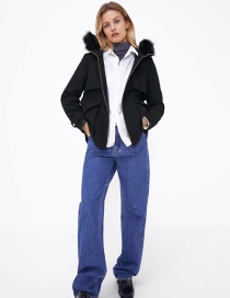 Fashion Black Fur Collar Hooded Coat