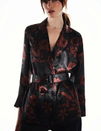 Fashion Black Printed Blouse With Belt