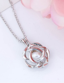 Fashion Flowers Openable Pearl Small Photo Box Flower Necklace