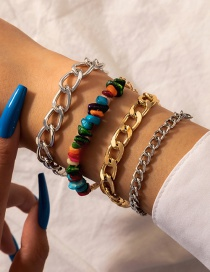 Fashion Color Mixing Crushed Stone Thick Chain Geometric Bracelet