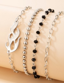 Fashion Silver 4-piece Set Of Rice Bead Flame Alloy Beaded Bracelet