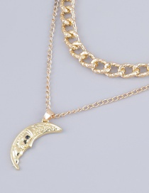 Fashion Golden Alloy Moon Pendant Multilayer Necklace