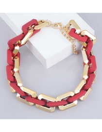 Fashion Red Square Ccb Resin Thick Chain Necklace