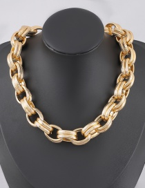 Fashion Golden Patterned Shiny Alloy Geometric Multilayer Necklace