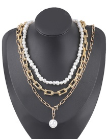 Fashion Three-piece Suit Alloy Ccb Imitation Pearl Geometric Detachable Pendant Multi-layer Necklace