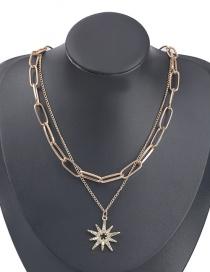 Fashion Golden Alloy Diamond Acrylic Star Pendant Multilayer Necklace