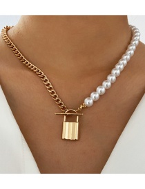 Fashion Golden Chain Metal Lock Pearl Necklace