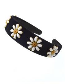 Fashion Green Satin Pearl Alloy Flower Headband