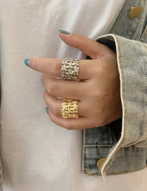 Fashion Golden Metal Braided Wide Ring