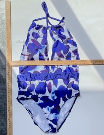 Fashion Blue One-piece Printed Tether Swimsuit