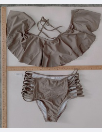 Fashion Gray Sub-system Rope Ruffle Swimsuit