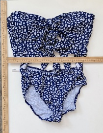Fashion Blue One Piece Printed Knotted Swimsuit