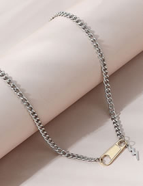 Fashion Silver Color Lightning Zipper Alloy Hollow Contrast Necklace