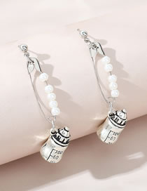 Fashion Silver Color Small Kettle Pearl Pin Alloy Earrings
