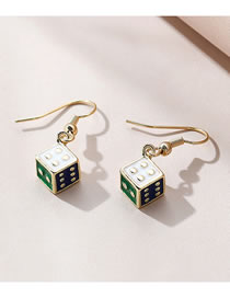 Fashion Gold Color Painted Oil Dice Alloy Earrings