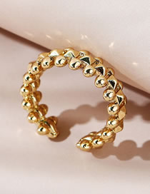Fashion Gold Color Rivet Brass Gold Plated Open Ring