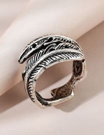 Fashion Silver Color Feather Embossed Alloy Mens Ring