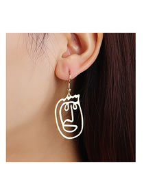 Fashion Gold Color Face Line Hollow Alloy Earrings