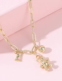 Fashion Gold Color Candy Bear Round Bead Alloy Thick Chain Necklace