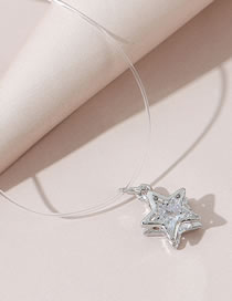 Fashion White Five-pointed Star Crystal Fish Bone Line Necklace