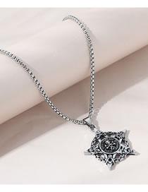 Fashion Silver Color Skull Hexagonal Alloy Hollow Necklace