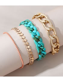 Fashion Gold Color Resin Thick Chain Love Heart Alloy Bracelet Set