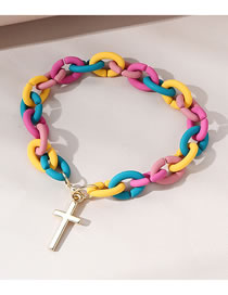 Fashion Color Mixing Cross Frosted Contrast Alloy Bracelet