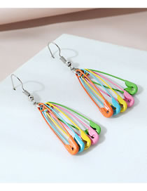 Fashion Color Mixing Frosted Pin Hit Color Alloy Earrings