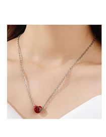 Fashion Silver Color Peach Heart Painting Oil Alloy Necklace