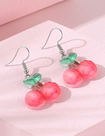 Fashion Red Cherry Resin Alloy Earrings