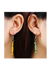 Fashion Color Mixing Frosted Spray Paint Small Candy Contrast Alloy Earrings