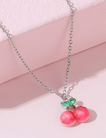 Fashion Red Cherry Acrylic Alloy Necklace