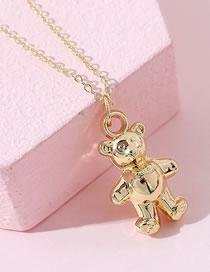 Fashion Gold Color Bear Acrylic Pendant Necklace