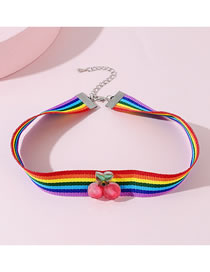 Fashion Color Mixing Cherry Acrylic Contrast Color Childrens Necklace