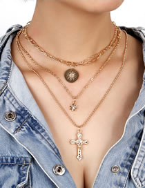 Fashion Gold Color Cross Disc Alloy Multilayer Necklace