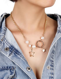 Fashion Gold Color Pearl Star Alloy Hollow Necklace