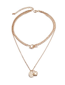 Fashion Gold Color Heart Disc Alloy Double Layer Necklace