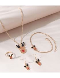 Fashion Brown Painted Oil Antlers Drip Oil Alloy Necklace Bracelet Earrings Set