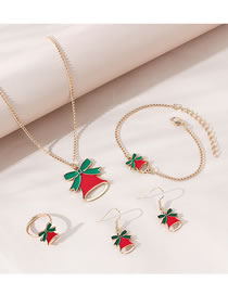 Fashion Gold Color Bell Drip Oil Alloy Necklace Ring Earrings Bracelet Set