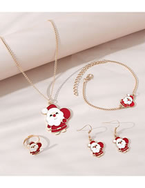 Fashion Gold Color Old Man Dripping Oil Alloy Necklace Earrings Ring Bracelet Set