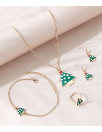 Fashion Green Christmas Tree Dripping Oil Alloy Necklace Ring Bracelet Earring Set