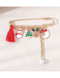 Fashion Gold Color Pearl Christmas Oil Dripping Geometric Alloy Brooch