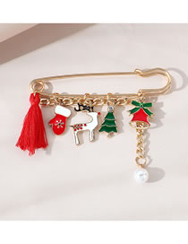 Fashion Gold Color Drop Oil Fringed Bell Alloy Pearl Brooch