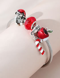 Fashion Red Small Apple Oil Drop Beaded Alloy Bracelet