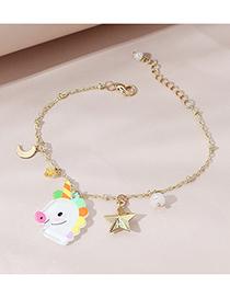 Fashion Golden Color Starlight Unicorn Acrylic Pendant Children Bracelet