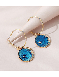 Fashion Blue Painted Oil Small Five-star Round Alloy Earrings