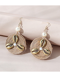 Fashion Golden Color Hemp Rope Braided Shell Pearl Round Earrings