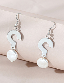 Fashion Silver Color Pearl Symbol Alloy Earrings