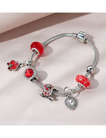 Fashion Red Painted Oil And Diamond Geometric Bracelet