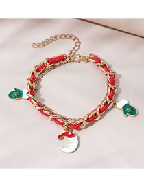 Fashion Red Christmas Glove Dripping Alloy Bracelet